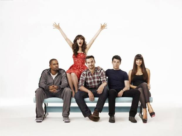 "From left: Damon Wayans Jr., Zooey Deschanel, Jake Johnson, Max Greenfield and Hannah Simone of the ""New Girl"" cast - Fox Photo"