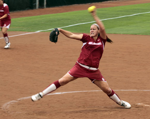 Pitcher Keilani Ricketts pitches as the University of Oklahoma Sooner Softball team plays Arizona in game two of the NCAA Softball Norman Super Regional at Marita Hines field on Saturday, May 26, 2012, in Norman, Okla.  Photo by Steve Sisney, The Oklahoman
