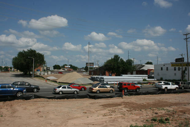Traffic backs up on Western Avenue where the future boulevard is planned. Horn Trader Music is seen to the right. <strong>Provided</strong>