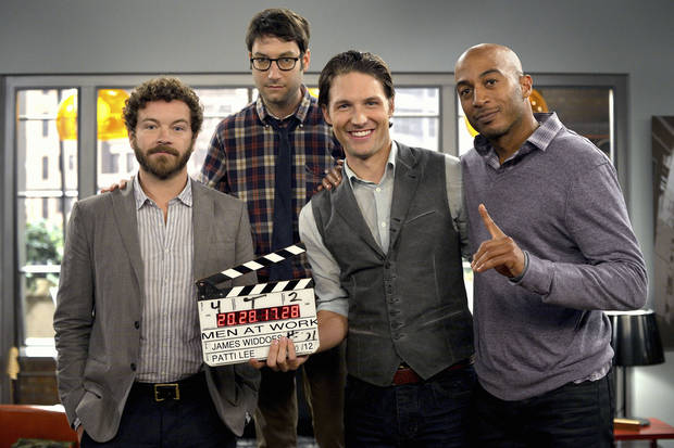 "Men At Work ""Heterotextual Male"" with Danny Masterson, James Lesure, Michael Cassidy, and Adam Busch.  Photo by Darren Michaels, SMPSP"