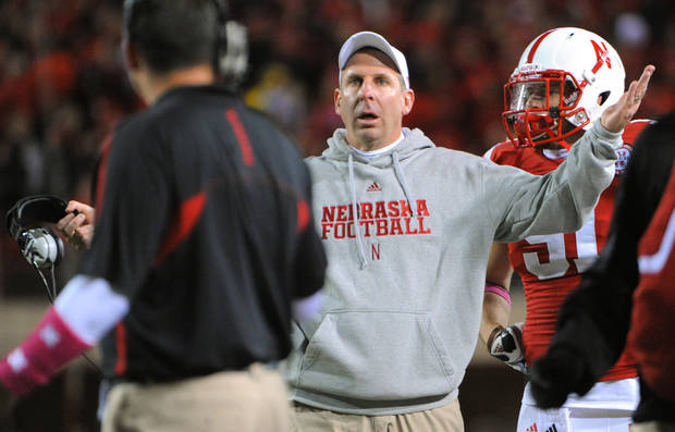 Nebraska's Bo Pelini complains about a pass interference call during an NCAA college football game against Michigan in Lincoln, Neb., Saturday, Oct. 27, 2012. Nebraska beat Michigan 23-9. (AP Photo/Dave Weaver) ORG XMIT: NENH119