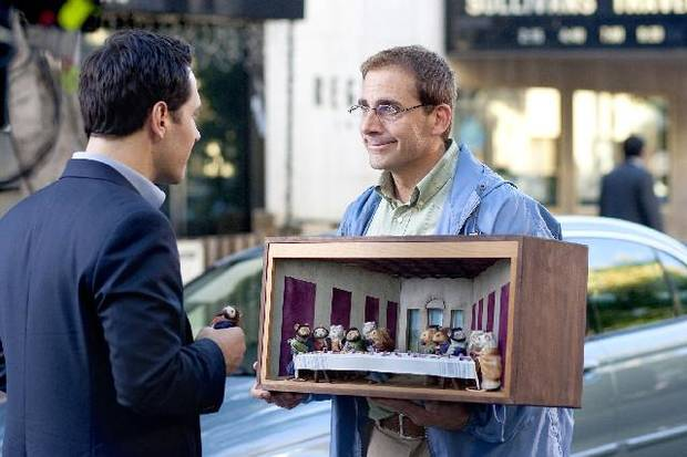 "arry (Steve Carell, right) shows off his mouse diorama of ""The Last Supper"" to Tim (Paul Rudd) in this scene from ""Dinner for Schmucks."" PARAMOUNT PICTURES PHOTO"