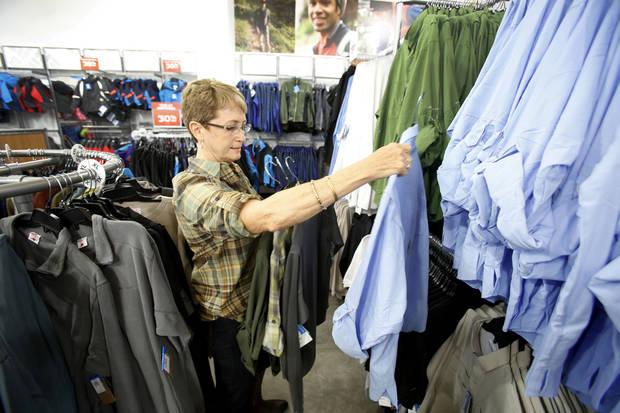 Nancy Roberts Kubina shops at Columbia Sportswear in The Outlet Shoppes at Oklahoma City. <strong>Steve Gooch - The Oklahoman</strong>