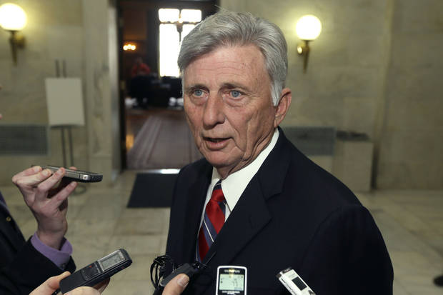 Arkansas Gov. Mike Beebe is interviewed in a hallway at the Arkansas state Capitol in Little Rock, Ark., Monday, March 4, 2013, after vetoing legislation that would have banned abortions 12 weeks into a pregnancy. (AP Photo/Danny Johnston)