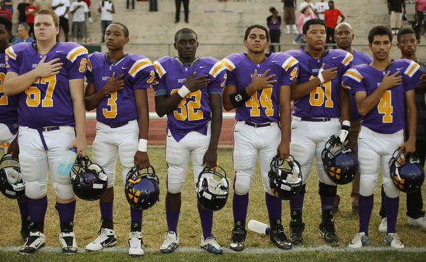 NWC players during the National Anthem at the Northwest Classen vs. Western Heights high school football game at Taft Stadium Thursday, September 20, 2012. Photo by Doug Hoke, The Oklahoman