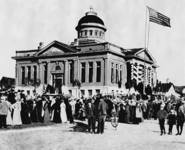 PRESTATEHOOD / STATEHOOD / GUTHRIE :  Inauguration of Capt. Frank Frantz, the last territorial governor.  The picture was made in Guthrie when Frantz became governor in January, 1906.  Thousands of these postcards were printed and sold.  Frantz was the Republican nominee against Gov. C. N. Haskell, first governor after statehood.  Frantz cam to Enid when the Cherokee strip opened in 1893.""