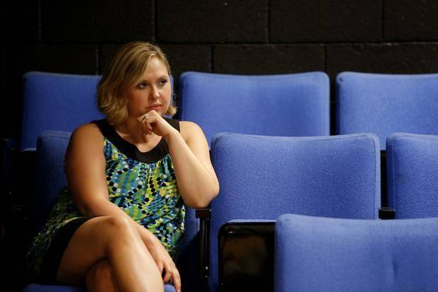 "Oklahoma City Theatre Company Artistic Director Rachel Irick watches during a rehearsal for ""Glengarry Glen Ross"" at CitySpace Theatre on Thursday, July 24, 2014. Photo by Bryan Terry, The Oklahoman"