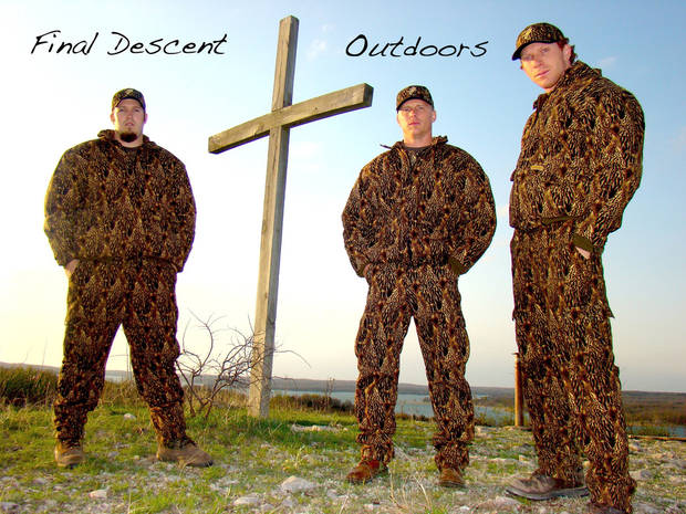 Brad Clay, Landon Wood and Clayton Edgar of the Sulphur ministry Final Descent Outdoors are creating a DVD series combining their love of hunting with their love of God. Photo provided