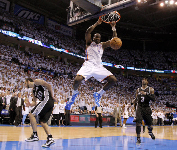 Oklahoma City's Kendrick Perkins (5) dunks the ball between San Antonio's Manu Ginobili (20) and Stephen Jackson (3) during Game 6 of the Western Conference Finals between the Oklahoma City Thunder and the San Antonio Spurs in the NBA playoffs at the Chesapeake Energy Arena in Oklahoma City, Wednesday, June 6, 2012. Oklahoma City won 107-99. Photo by Bryan Terry, The Oklahoman