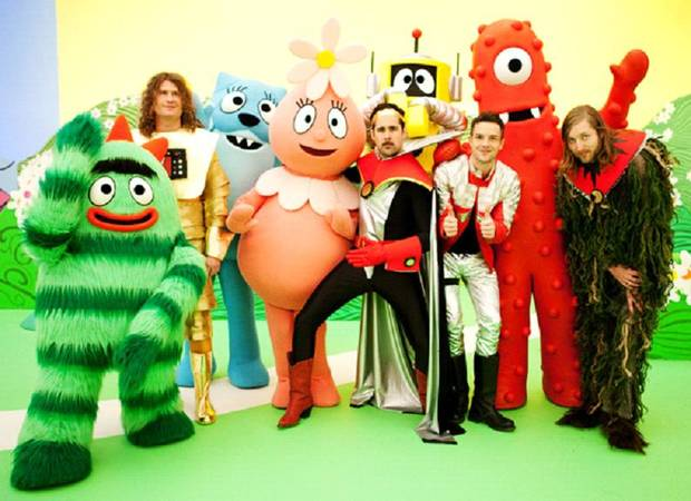 The Killers with, from left, Brobee, Toodee, Foofa, Plex and Muno - Nickelodeon Photo by Ben Clark