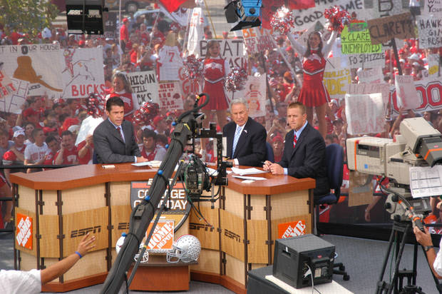 Columbus, OH - September 10, 2005: ESPN College GameDay - 2005 -- (L to R) Chris Fowler, Lee Corso, and Kirk Herbstreit.