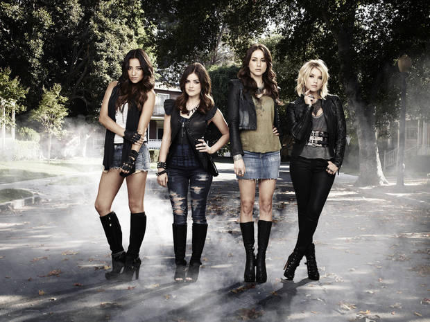 "PRETTY LITTLE LIARS - ABC Family's ""Pretty Little Liars"" stars Shay Mitchell as Emily Fields, Lucy Hale as Aria Montgomery, Troian Bellisario as Spencer Hastings and Ashley Benson as Hanna Marin. (ABC FAMILY/ANDREW ECCLES)"
