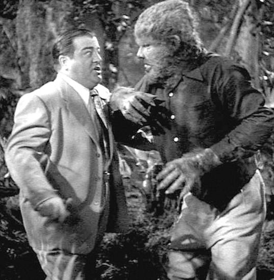 "Lon Chaney Jr. plays the Wolf Man in a scene with Lou Costello from the 1948 movie ""Abbot and Costello Meet Frankenstein."""