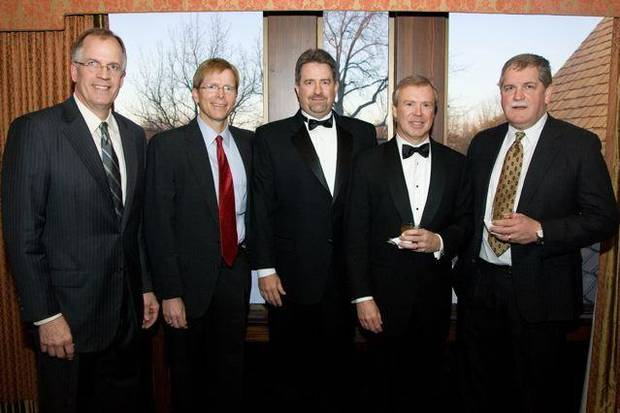 SAE'S CELEBRATE 100...Steve Raybourn, Bruce Bockus, Robert Bell,  Chuck Perrin and Bill Curry were at the dance/dance to celebrate the  Sigma Alpha Epsilon's 100th anniversary. (Photo by Steve Maupin).