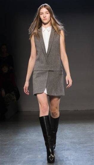 An outfit from the Victoria, Victoria Beckham fall 2013 runway show in New York. AP PHOTO