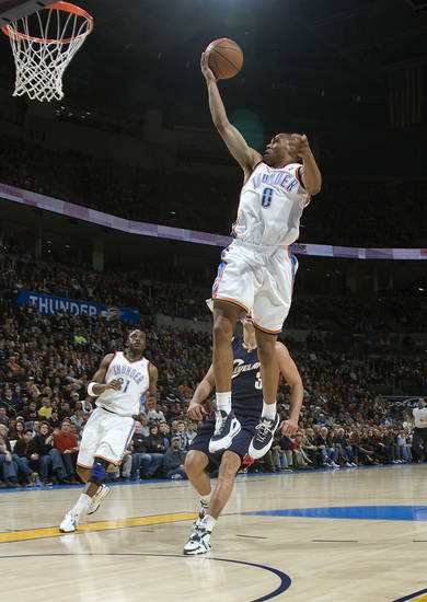 Oklahoma City's Russell Westbrook (0) shoots a lay up during the NBA game between the Oklahoma City Thunder and Cleveland Cavaliers, Sunday, Dec. 21, 2008, at the Ford Center in Oklahoma City. PHOTO BY SARAH PHIPPS, THE OKLAHOMAN