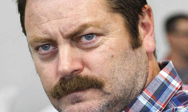 GOES WITH GEORGE LANG STORY   Nick Offerman, actor in television show, 'Parks and Recreation', in Oklahoma City at the Dead Center Film Festival on the Oklahoma River, Wednesday, June 6,  2012,    Photo by Jim Beckel, The Oklahoman