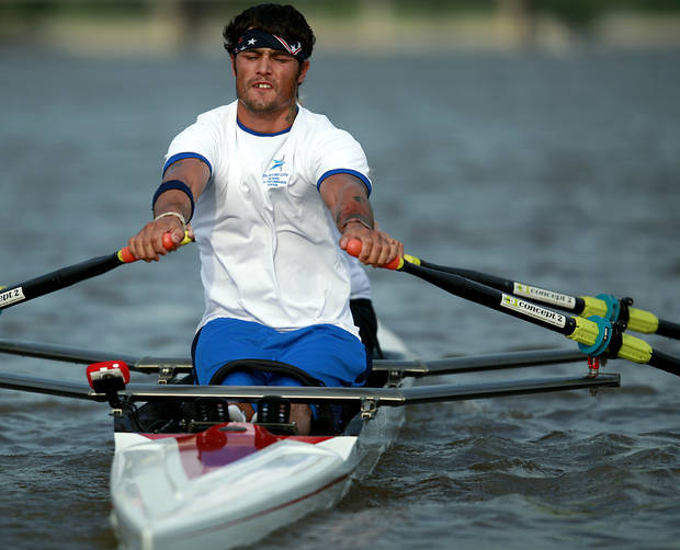 Paralympic Rower Tony Davis practices with rowing partner Jacqui Kapinowski on the Oklahoma River in oklahoma City on Tuesday, June 14, 2011. Photo by John Clanton, The Oklahoman