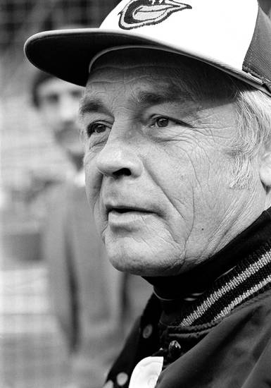 FILE - In this Wednesday, Oct. 11, 1979 file photo, manager Earl Weaver speaks with newsmen outside the Baltimore Orioles' dugout just before the second game of World Series against Pittsburgh Pirates, in Baltimore. Weaver, the fiery Hall of Fame manager who won 1,480 games with the Baltimore Orioles, has died, the team announced Saturday, Jan. 19, 2013. He was 82. (AP Photo/File)