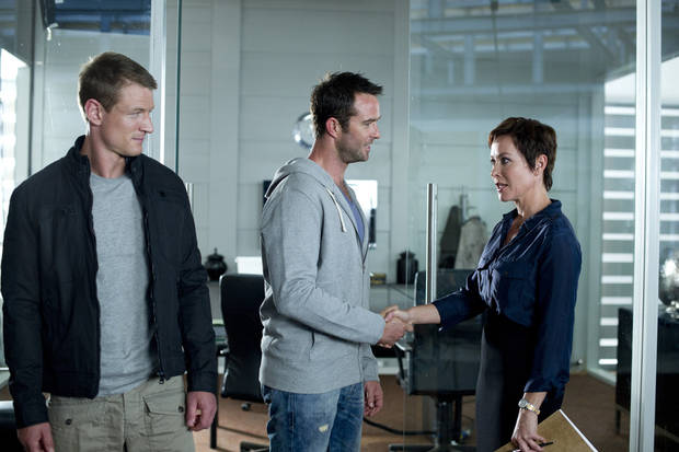 "From left, Philip Winchester, Sullivan Stapleton and Amanda Mealing of ""Strike Back"" - Cinemax Photo"