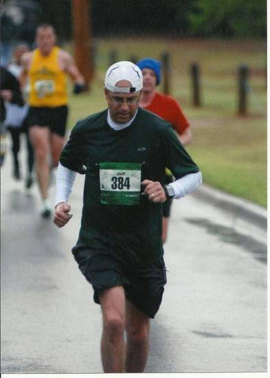 Jeff Greenlee runs during the 2011 Oklahoma City Memorial Marathon. He went to the hospital after this year's event because he got overheated. Photo provided <strong></strong>