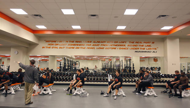 Fifteen members of the Oklahoma State football team prepare to run through a series of test for NFL scouts during the NFL pro day at Oklahoma State University on Wednesday, March 9, 2011, in Stillwater, Okla.  Photo by Chris Landsberger, The Oklahoman