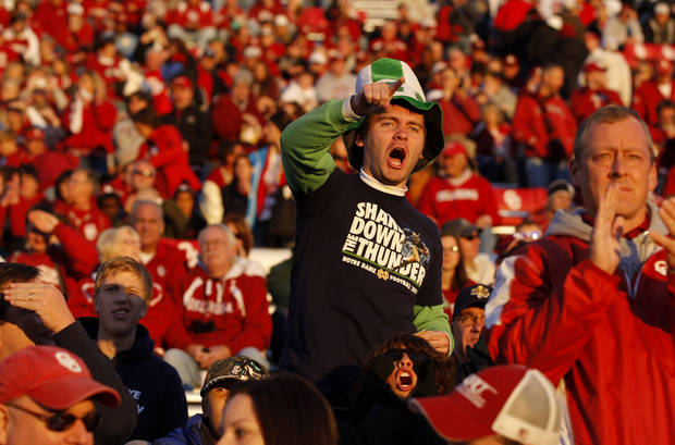 A Notre Dame fan shouts before  the college football game between the University of Oklahoma Sooners (OU) and the Notre Dame Fighting Irish at Gaylord Family-Oklahoma Memorial Stadium in Norman, Okla., Saturday, Oct. 27, 2012. Oklahoma lost 30-13. Photo by Bryan Terry, The Oklahoman