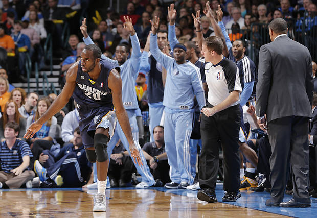 Memphis&#039; Quincy Pondexter (20) reacts after hitting a three point shot during the NBA basketball game between the Oklahoma City Thunder and the Memphis Grizzlies at Chesapeake Energy Arena on Wednesday, Nov. 14, 2012, in Oklahoma City, Okla.   Photo by Chris Landsberger, The Oklahoman