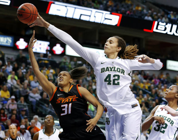Baylor's Brittney Griner (42) blocks the shot of Oklahoma State's Kendra Suttles (31) during the Big 12 tournament women's college basketball game between Oklahoma State University and Baylor at American Airlines Arena in Dallas, Sunday, March 10, 2012.  Photo by Bryan Terry, The Oklahoman