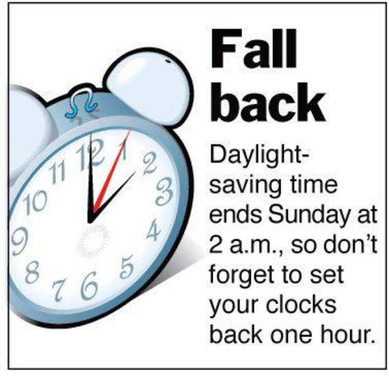 FALL BACK, DAYLIGHT-SAVING TIME: Graphic to remind people to set their clocks back one hour &lt;strong&gt;AP - Archive&lt;/strong&gt;
