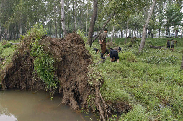People prepare to remove fallen trees on Wednesday, Aug. 29, 2012 in Pyongyang�s Sunan District in North Korea after a typhoon hit the area. A second typhoon in less than a week is approaching North Korea, threatening more rain in a country where storms often mean catastrophe because of deforestation and fragile infrastructure. (AP Photo/Kim Kwang Hyon)