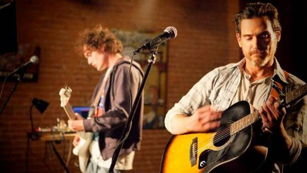 "From left, Anton Yelchin and Billy Crudup are featured in a scene from ""Rudderless."" Photo provided."
