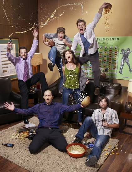 Clockwise from top Left: Nick kroll, Mark Duplass, Stephen Rannazzis, Katie Aselto, Jon Lajoie and Paul Scheer. CR: F. Scott Scafer/ FX.
