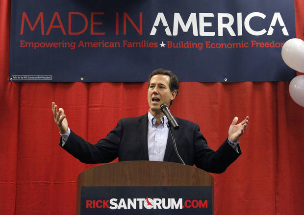Republican presidential candidate, former Pennsylvania Sen. Rick Santorum speaks during a rally on Thursday, Feb. 9, 2012, in Oklahoma City, Okla.  Photo by Chris Landsberger, The Oklahoman