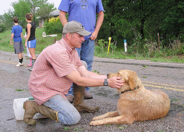 Veterinarian Patrick Young attends to Baxter, a Labrador that was in the garage of a home destroyed Tuesday by a tornado in Cole. Photo by David Zizzo, The Oklahoman