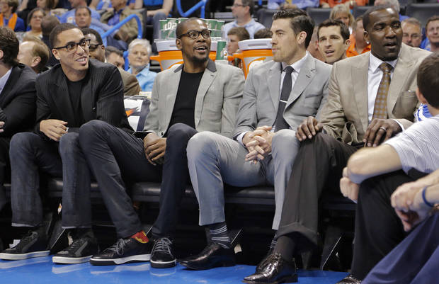 Oklahoma City's Kevin Martin, Kevin Durant, Nick Collison and Kendrick Perkins sit on the bench during the season finally NBA basketball game between the Oklahoma City Thunder and the Milwaukee Bucks at Chesapeake Energy Arena on Wednesday, April 17, 2013, in Oklahoma City, Okla.   Photo by Chris Landsberger, The Oklahoman