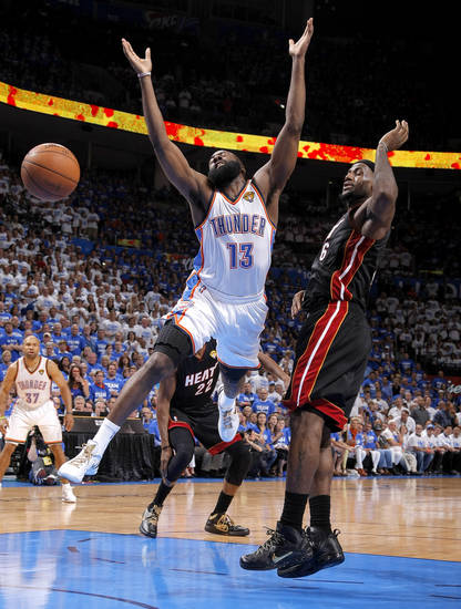 Oklahoma City's James Harden (13) looses the ball after fouled by Miami's LeBron James (6) during Game 2 of the NBA Finals between the Oklahoma City Thunder and the Miami Heat at Chesapeake Energy Arena in Oklahoma City, Thursday, June 14, 2012. Photo by Sarah Phipps, The Oklahoman