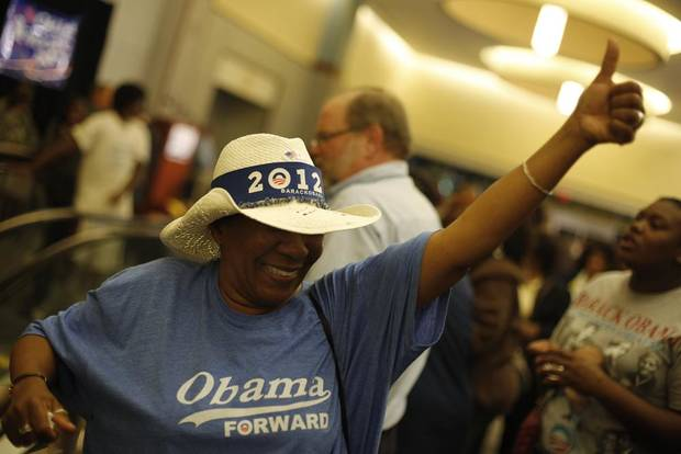 Arnola Gipson, of Oklahoma City, cheers during the Oklahoma Democratic Party watch gathering at the Reed Center in Midwest City, Tuesday, Nov. 6, 2012.  Photo by Garett Fisbeck, The Oklahoman