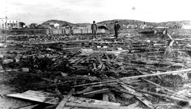 Damage of the May 10, 1905, Snyder tornado is shown.  OKLAHOMAN ARCHIVE PHOTO <strong>THE OKLAHOMAN ARCHIVE</strong>