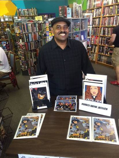 Derreck Wayne Jackson at Speeding Bullet Comics on Free Comic Book Day 2014.
