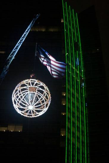 The giant lighted ball rises at Opening Night 2013 in downtown Oklahoma City. Photo provided by Arts Council of Oklahoma City.