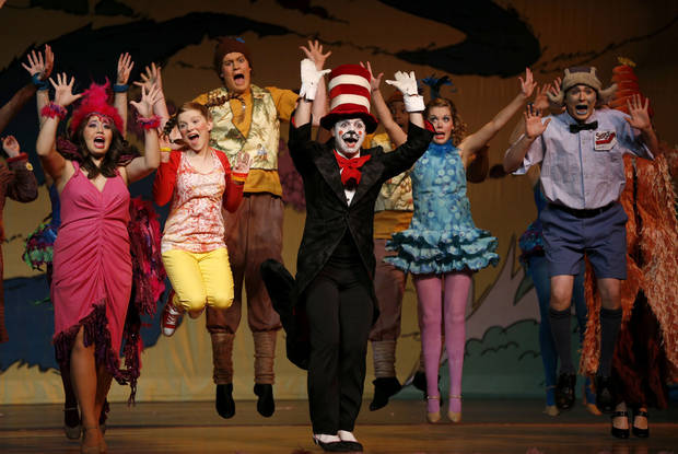 The cast members from �Seussical� rehearse at Oklahoma Christian University. Photo by Bryan Terry, The Oklahoman