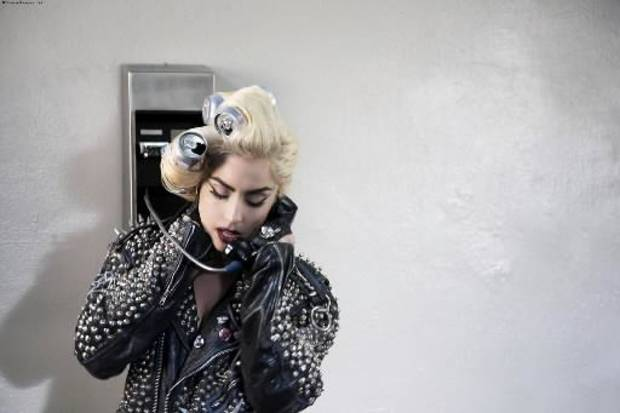 "Lady Gaga during a scene in her music video for ""Telephone."""