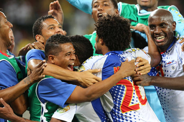 Cape Verde Ryan Mendes react, second left, with team members  after scoring a goal against Morocco during the  Africa Cup of Nations game at the Moses Mabhida Stadium in Durban, South Africa, Wednesday, Jan. 23, 2013.  (AP Photo/Schalk van Zuydam)