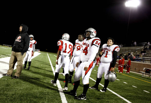 U.S. Grant players watch game action during the high school football game between Edmond North and U.S. Grant at Wantland Stadium in Edmond, Okla.,  Thursday, Nov. 3, 2011. Photo by Sarah Phipps, The Oklahoman  ORG XMIT: KOD