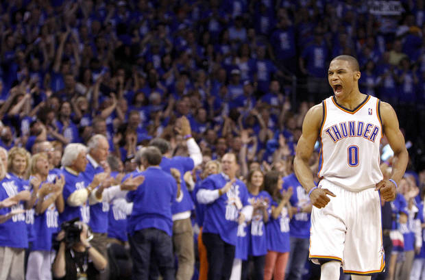 Oklahoma City's Russell Westbrook (0) celebrates during Game 3 of the Western Conference Finals between the Oklahoma City Thunder and the San Antonio Spurs in the NBA playoffs at the Chesapeake Energy Arena in Oklahoma City, Thursday, May 31, 2012.  Photo by Sarah Phipps, The Oklahoman