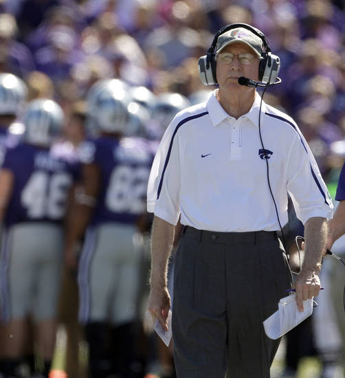 Kansas State University head coach Bill Snyder watches during the second quarter of an NCAA college football game against Tennessee Tech  Saturday, Sept. 26, 2009, in Manhattan, Kan. (AP Photo/Charlie Riedel) ORG XMIT: KSCR105