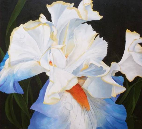 "Allie Jensen, ""Condensation Iris,"" acrylic on MDO. Photo provided"