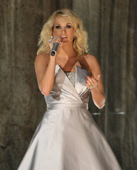 Carrie Underwood performs on stage at the 55th annual Grammy Awards on Sunday, Feb. 10, 2013, in Los Angeles. (Photo by John Shearer/Invision/AP) ORG XMIT: CAAR216