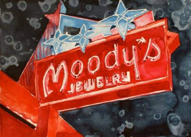 "Tulsa artist Tommy Ball's ""Moody's Neon,"" a watercolor painting on paper, is featured in the Oklahoma Visual Arts Coalition's 2013 ""Momentum"" exhibition."
